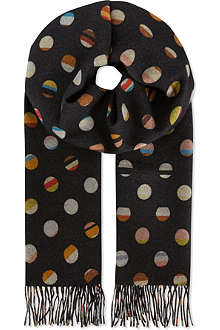 PAUL SMITH ACCESSORIES Double-sided striped spot scarf