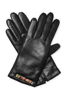 PAUL SMITH ACCESSORIES Swirl-print bow-detail leather gloves