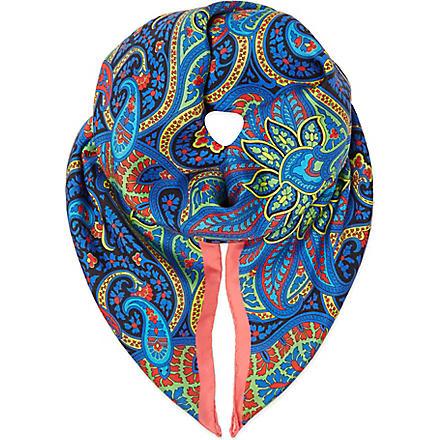 PAUL SMITH ACCESSORIES Paisley print silk scarf (Blue