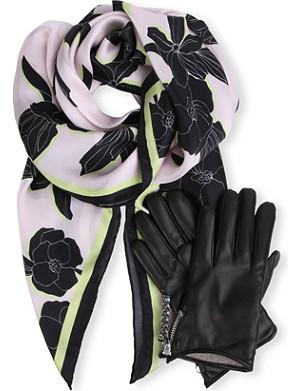 PAUL SMITH ACCESSORIES Floral-print silk scarf & glove set