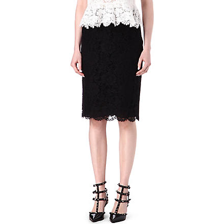 VALENTINO Lace-overlay skirt (Black