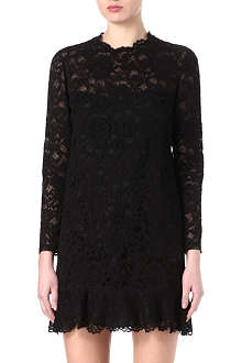 VALENTINO Lace ruffled-hem dress