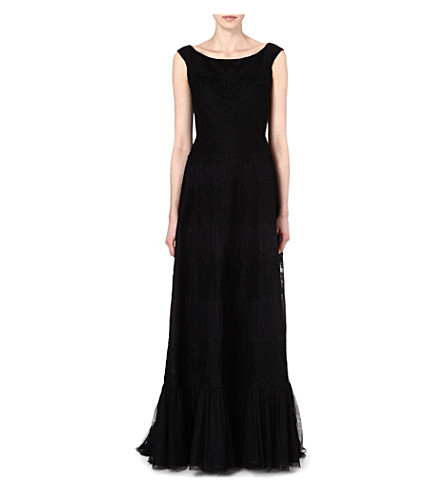 VALENTINO Off-the-shoulder lace gown (Black