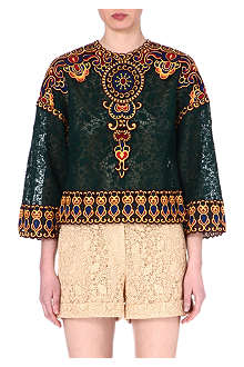 VALENTINO Afrika embroidered lace top