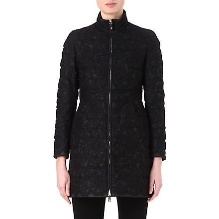 VALENTINO Lace quilted coat (Black