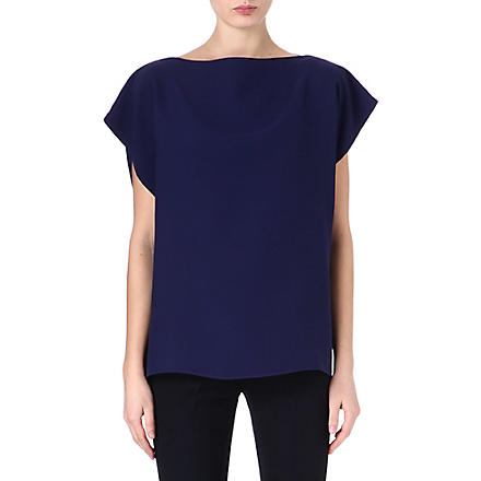 VALENTINO Silk short-sleeved tunic top (Blue