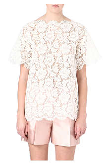 VALENTINO Lace scalloped-edge tunic