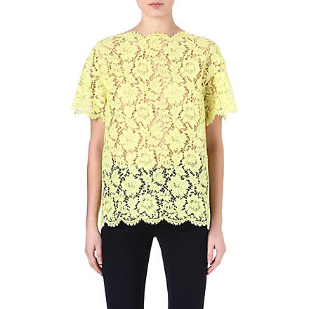 VALENTINO Lace scalloped-edge tunic (Yellow