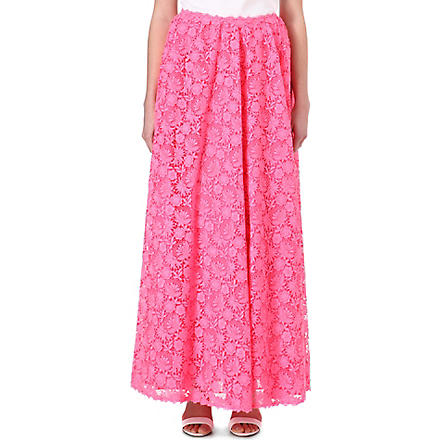 VALENTINO Fluorescent lace maxi skirt (Pink