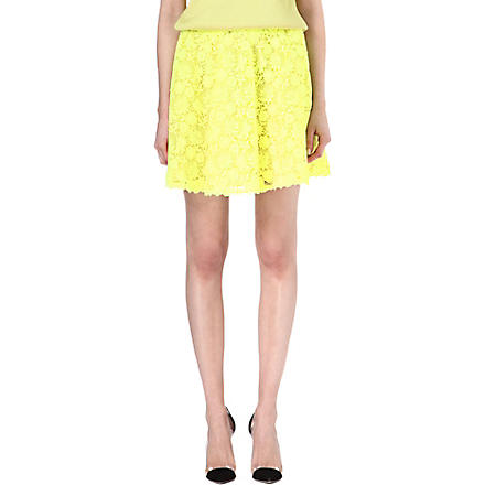 VALENTINO Fluorescent lace mini skirt (Yellow