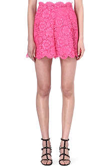 VALENTINO Pleated lace mini skirt