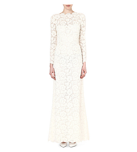 VALENTINO Long-sleeved lace gown (Ivory