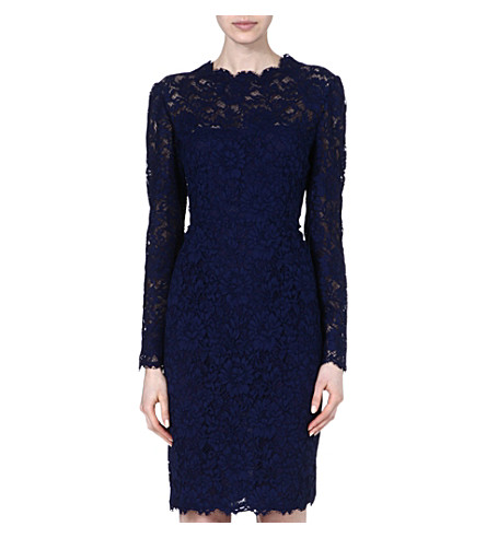 VALENTINO Classic lace knee-length dress (Blue