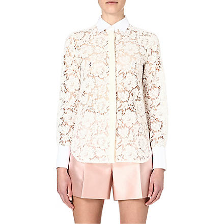 VALENTINO Lace sheer shirt (Ivory