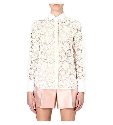 VALENTINO Lace sheer shirt (Ivory