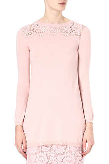 VALENTINO Lace panel silk-blend top
