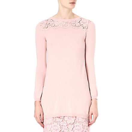 VALENTINO Lace panel silk-blend top (Rose
