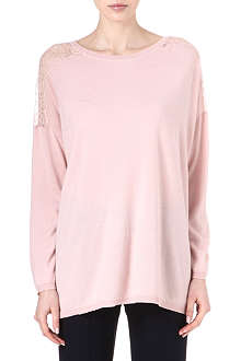 VALENTINO Long knitted lace-shoulder jumper