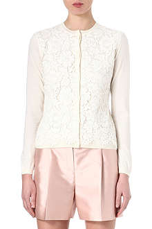 VALENTINO Floral lace-overlay cardigan