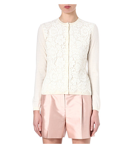 VALENTINO Floral lace-overlay cardigan (Ivory