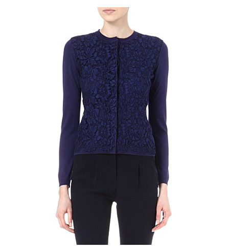 VALENTINO Floral lace-overlay cardigan (Navy
