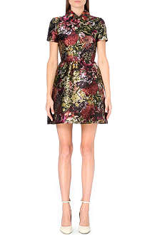 VALENTINO Leather-collar floral-brocade dress