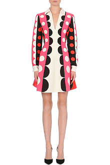 VALENTINO Spot-detail wool and silk-blend dress
