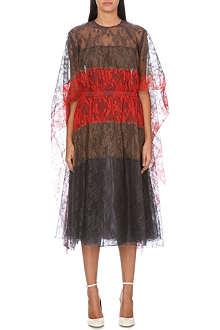 VALENTINO Cape-sleeve silk-lace dress