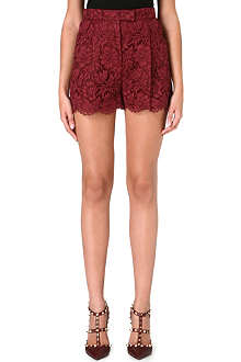VALENTINO High-waisted lace shorts