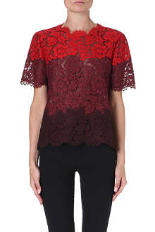 VALENTINO Lace-detail panelled top