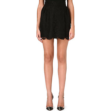 VALENTINO Lace-detail mini skirt (Black