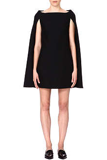 VALENTINO Cape-sleeved wool-blend dress