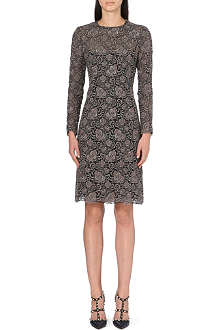 VALENTINO Metallic-floral lace dress