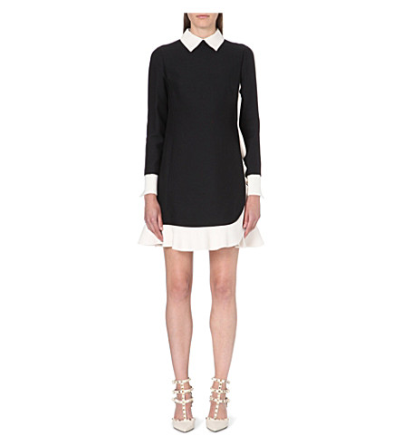 VALENTINO Ruffled-trim dress (Black/white