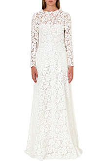 VALENTINO Floral-lace evening gown