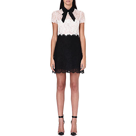 VALENTINO Monochrome lace bow dress (Black/white
