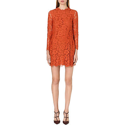 VALENTINO Long-sleeved lace dress (Orange