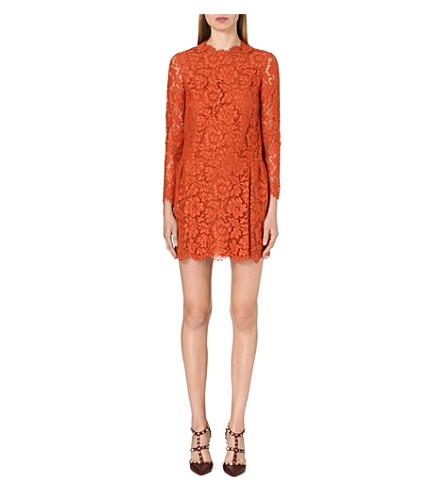 VALENTINO Long-sleeved lace dress (Orange