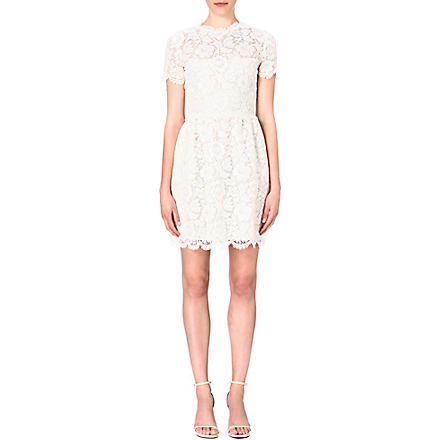 VALENTINO Short-sleeved lace dress (Ivory