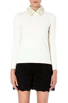 VALENTINO Floral-appliqué wool and cashmere-blend jumper