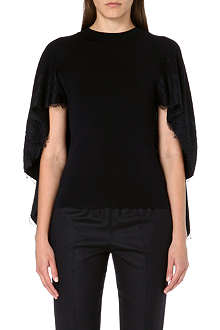 VALENTINO Lace-trimmed wool cape top
