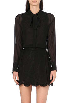 VALENTINO Lace-detail silk shirt