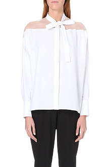 VALENTINO Sheer-detail pussybow cotton shirt