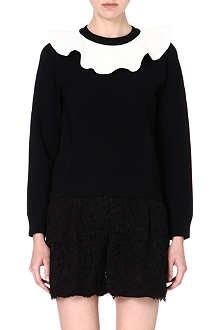 VALENTINO Frill-neckline knitted jumper