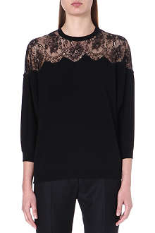 VALENTINO Lace-panel wool jumper
