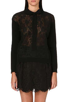 VALENTINO Lace-panel knitted jumper