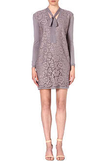 VALENTINO Lace-panel knitted wool dress
