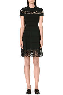VALENTINO Lace-panel stretch-knit dress