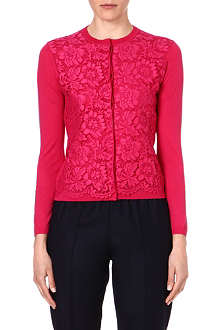 VALENTINO Lace-panel wool cardigan