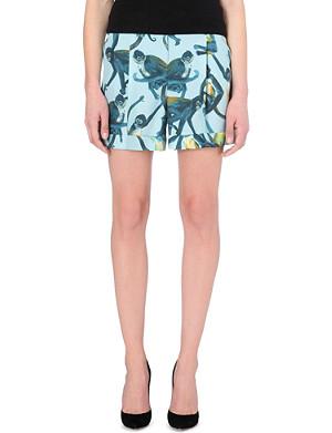 VALENTINO Monkey-print silk shorts